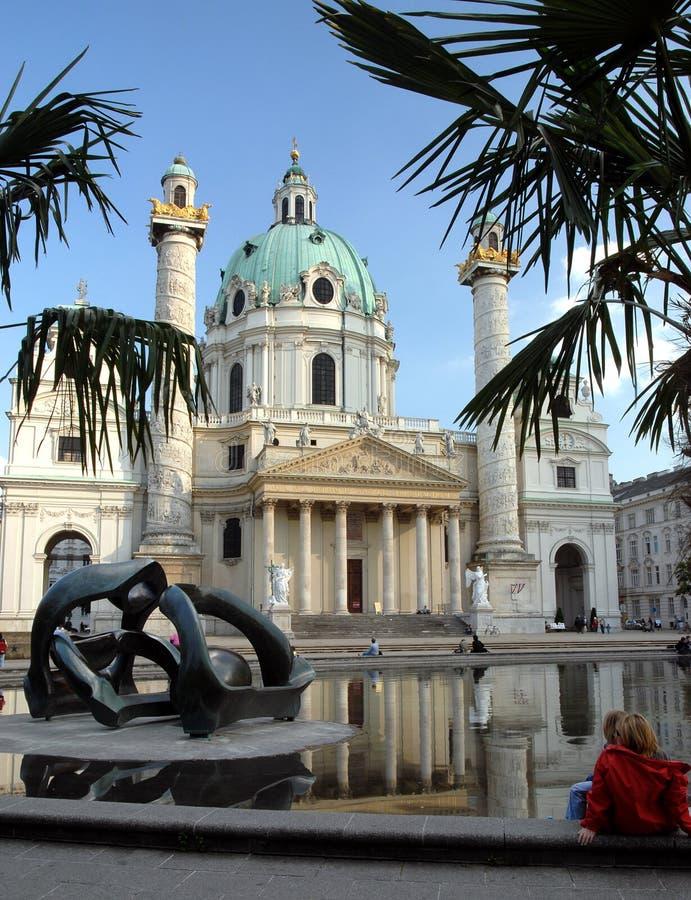 教会karlskirche维也纳 库存图片