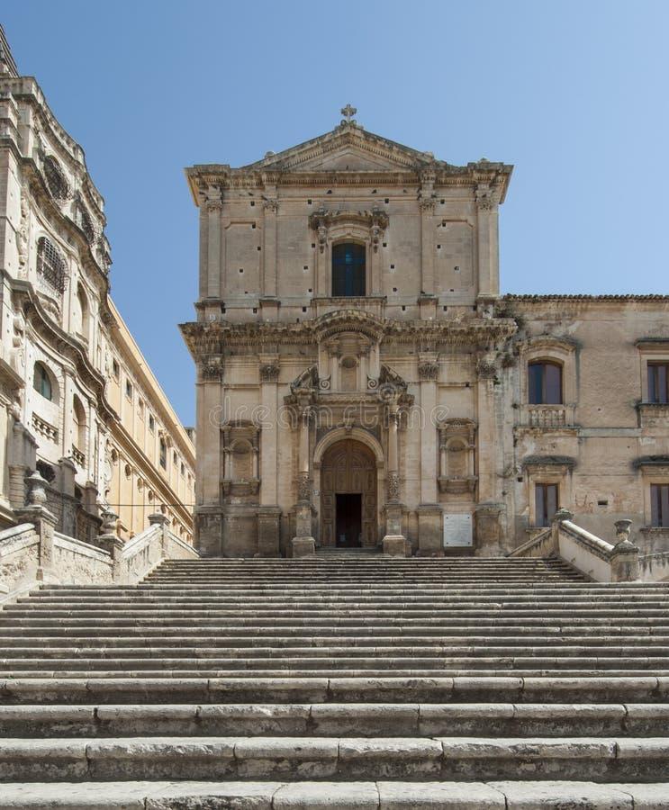 教会noto西勒鸠斯西西里岛意大利欧洲圣弗朗西斯  免版税图库摄影