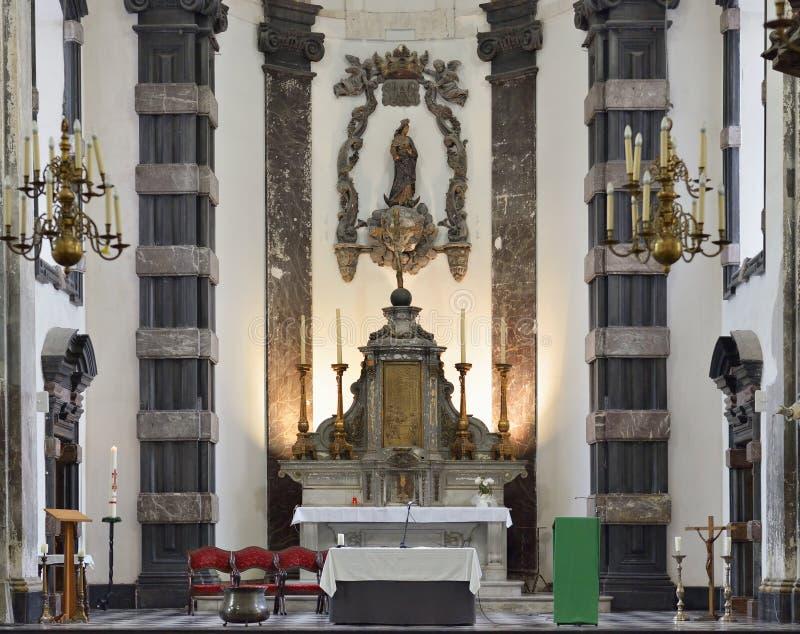 教会Notre Dame辅助财宝Claires,布鲁塞尔 免版税库存照片