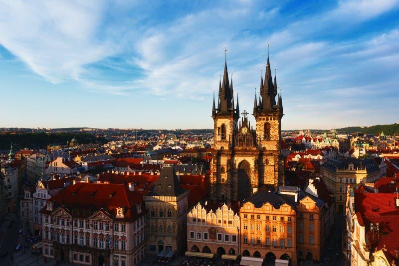 教会Panny玛里在布拉格pred约瑟夫嘲弄者重建的Tynem 免版税库存图片