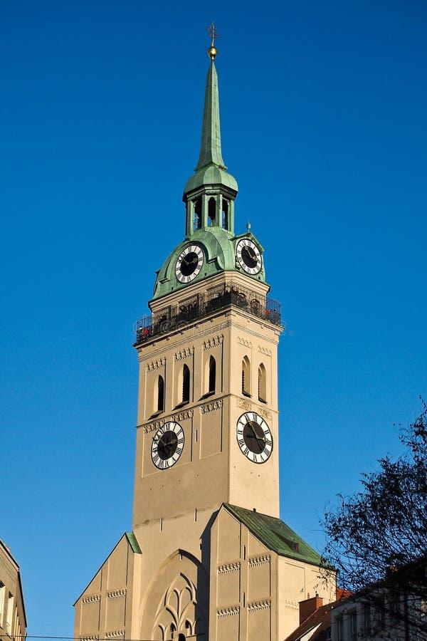 教区教堂圣皮特圣徒・彼得,一慕尼黑的最著名的地标 图库摄影