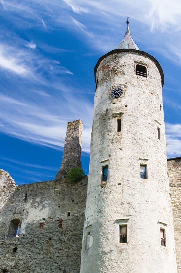 主教城堡的主要塔在哈普沙卢 免版税图库摄影