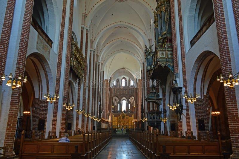 教堂中殿天花板罗斯基勒大教堂丹麦 免版税库存照片