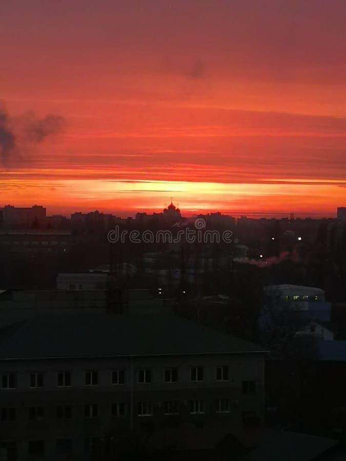 教堂工业景观日落 免版税库存照片