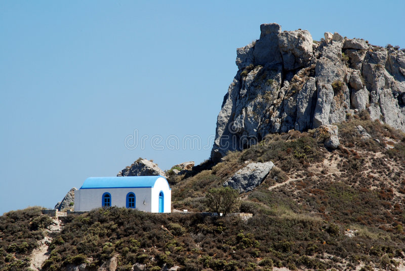 教堂希腊浪漫婚礼 免版税库存图片