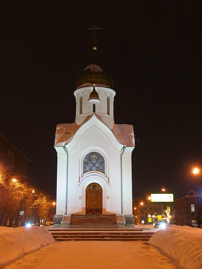 教堂晚上视图 库存照片