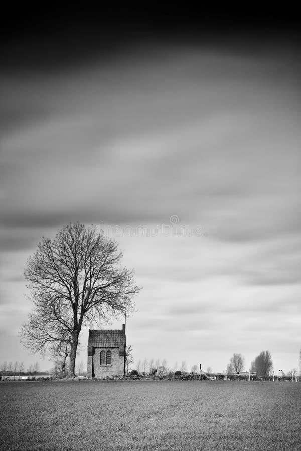教堂覆盖风暴 库存照片