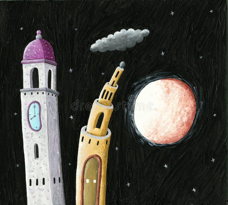 教堂钟塔和城堡夜耸立 皇族释放例证