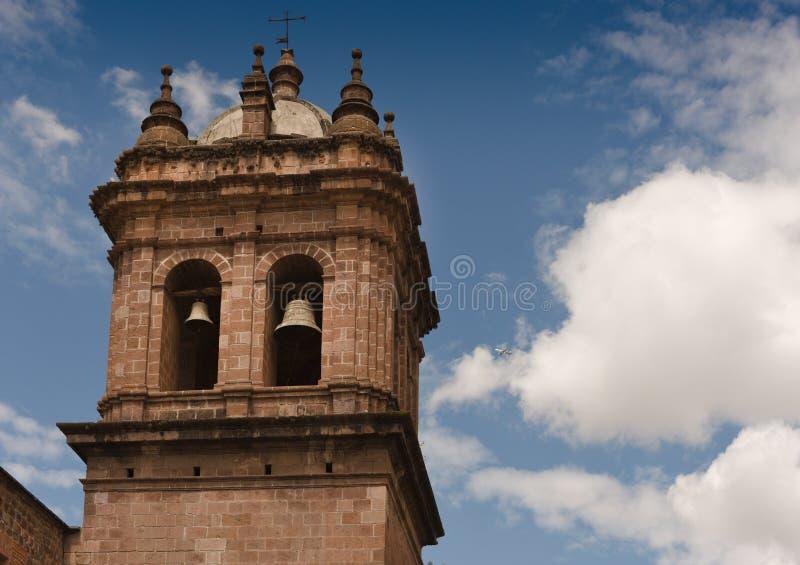 教堂钟塔-库斯科秘鲁 库存照片