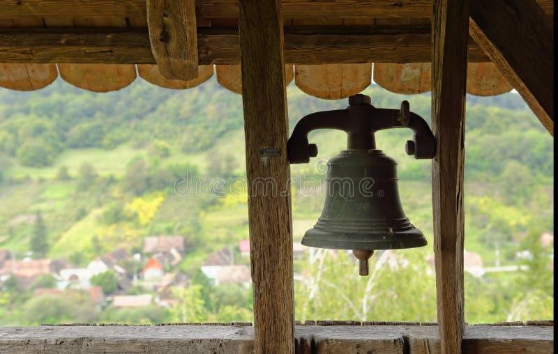 教堂钟, Copsa母马,特兰西瓦尼亚,罗马尼亚 库存照片