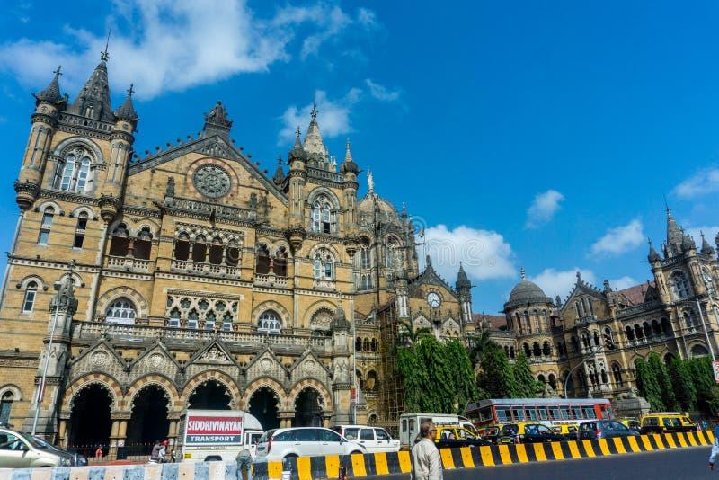 教堂门火车站在孟买,印度 免版税库存图片