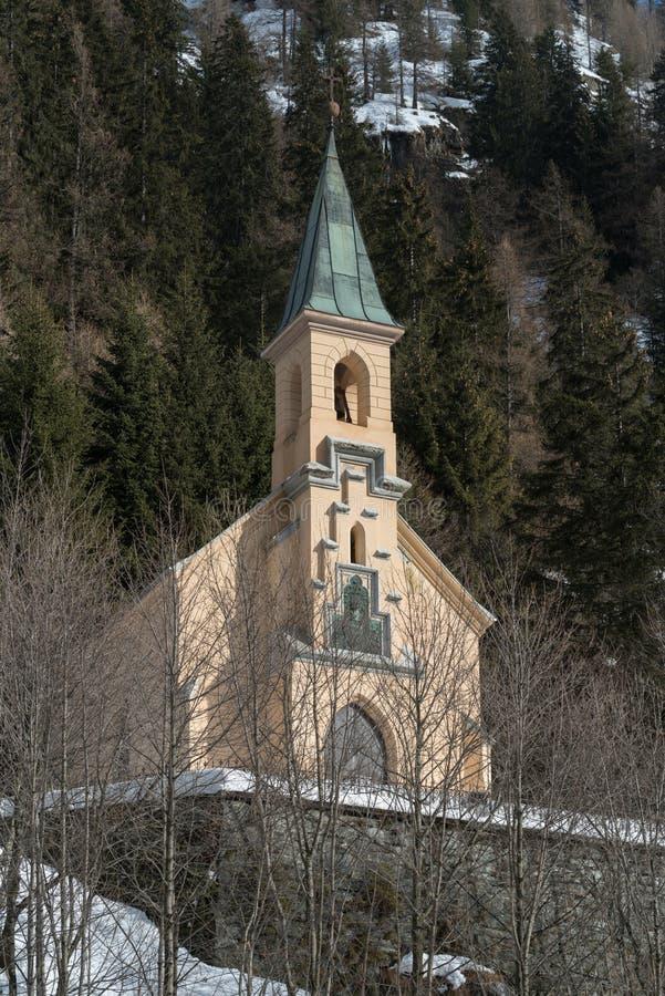 教堂, Gressoney圣徒吉恩,意大利 免版税库存图片