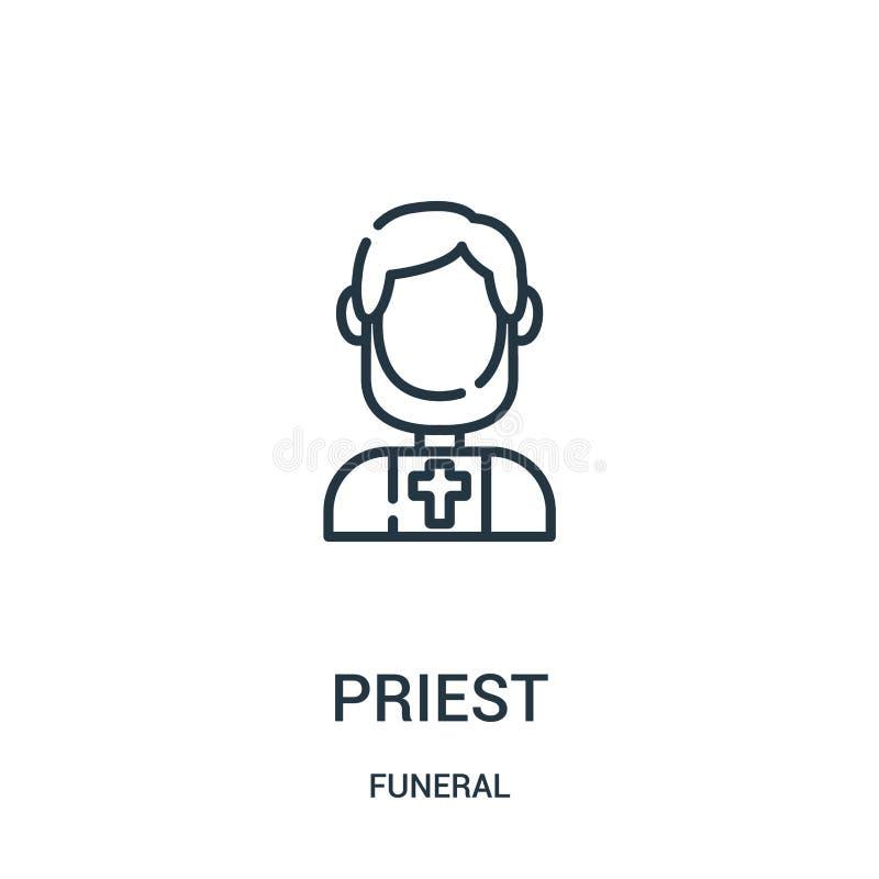 教士从葬礼收藏的象传染媒介 稀薄的线教士概述象传染媒介例证 线性标志为在网的使用和 皇族释放例证