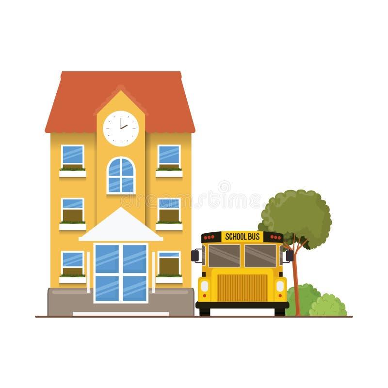 教学楼主要与在风景的公共汽车 库存例证