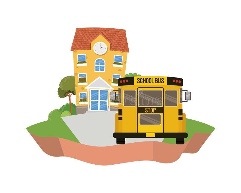 教学楼主要与在风景的公共汽车 向量例证