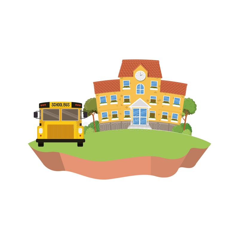 教学楼主要与在风景的公共汽车 皇族释放例证