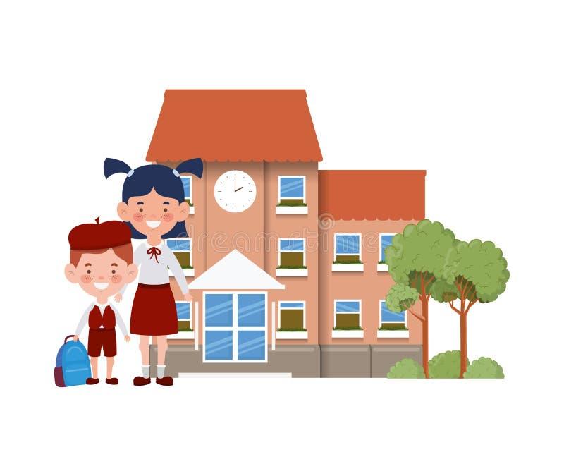 教学楼主要与学生 向量例证