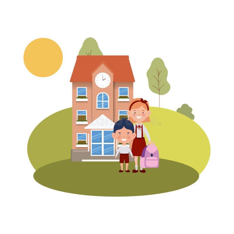 教学楼主要与学生 库存例证