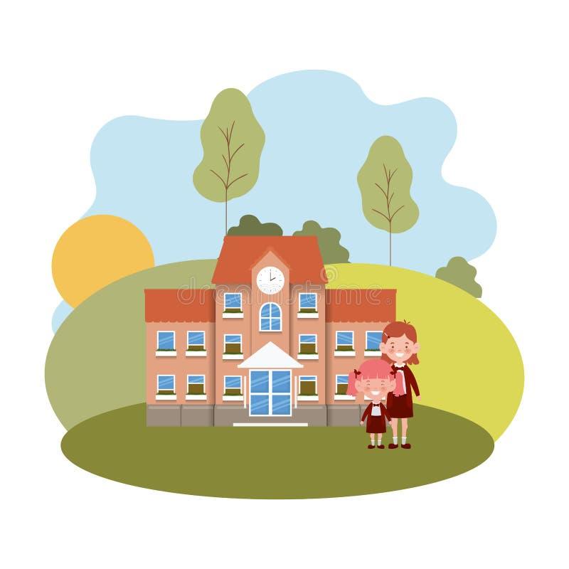 教学楼主要与学生 皇族释放例证