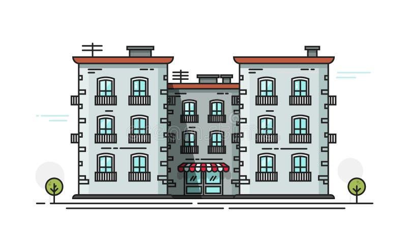 教学楼传染媒介例证正面图,平的动画片校舍想法,校园建筑排行概述 库存例证