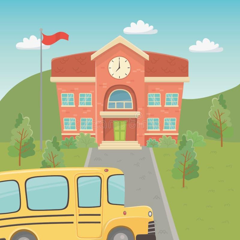 教学楼和公共汽车在风景场面 皇族释放例证