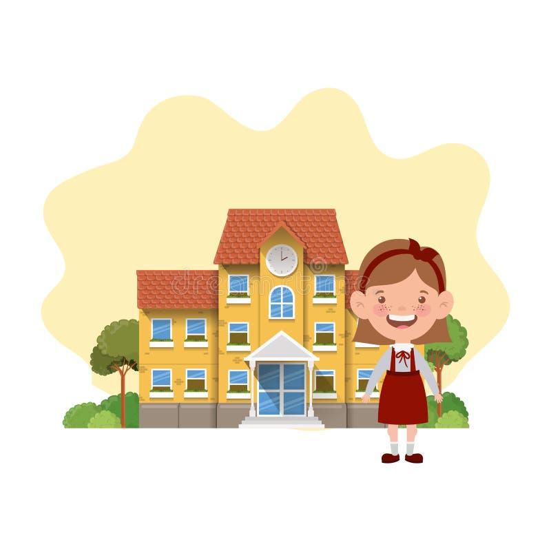 教学楼的学生女孩主要 皇族释放例证