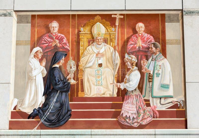 教宗若望保禄二世的中心 克拉科夫, Lagiewniki 免版税图库摄影