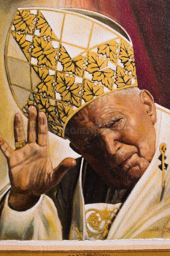 教宗若望保禄二世的被绘的图象 图库摄影