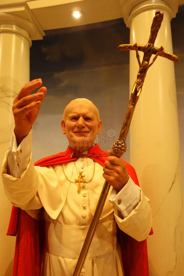 教宗若望保禄二世蜡象 免版税库存图片