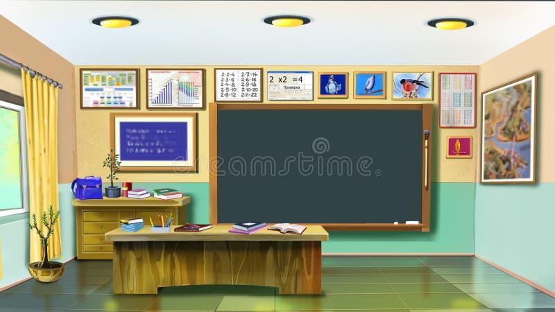 教室内部 回到视图 库存例证