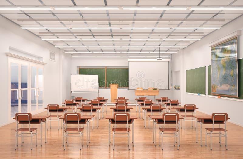 教室内部 3d 库存例证