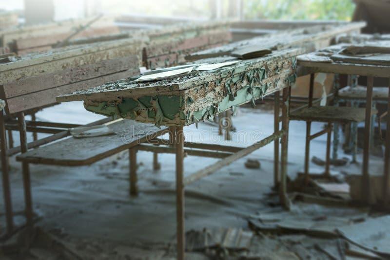 教室在被放弃的学校第3在Pripyat 免版税库存照片