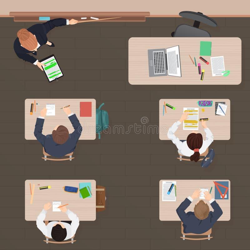 教室现代教训在学校、大学或者学院 平的颜色设计 顶视图 库存例证