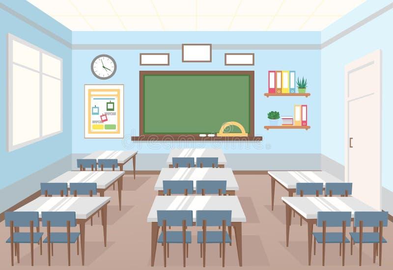 教室的传染媒介例证在学校 类和书桌空的内部与委员会的孩子的平的动画片的 皇族释放例证