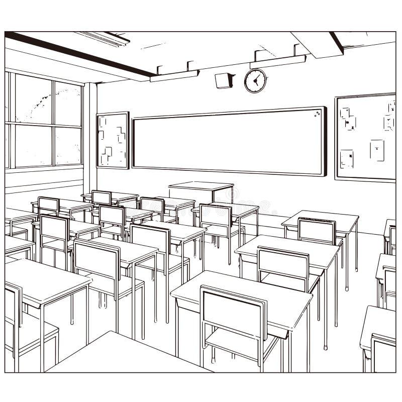 教室的传染媒介图画 图库摄影