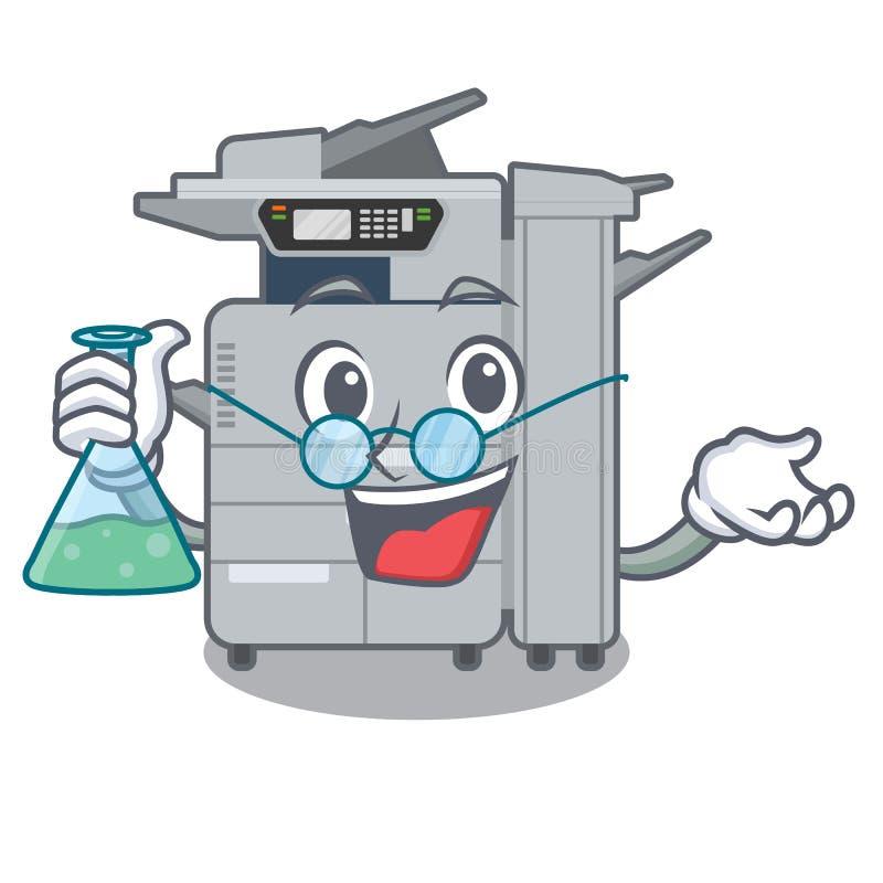 教授在动画片隔绝的影印机机器 库存例证