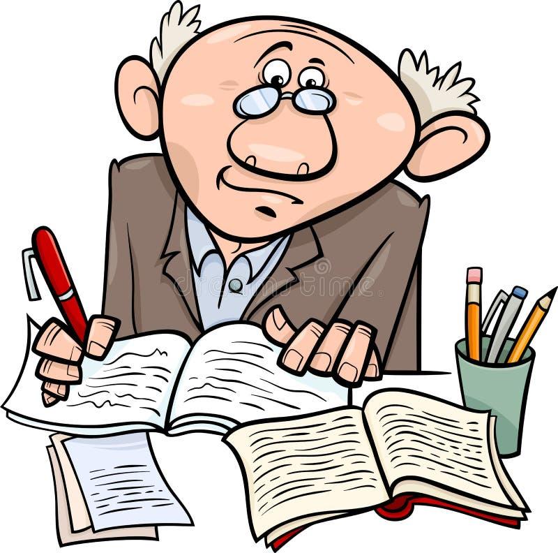 教授或作家动画片例证 向量例证