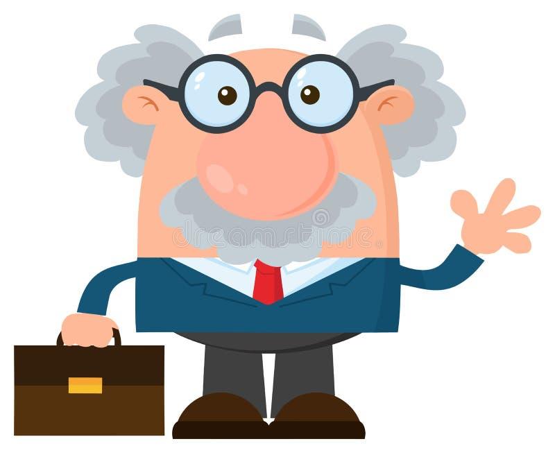 教授或科学家与公文包挥动的漫画人物 库存例证