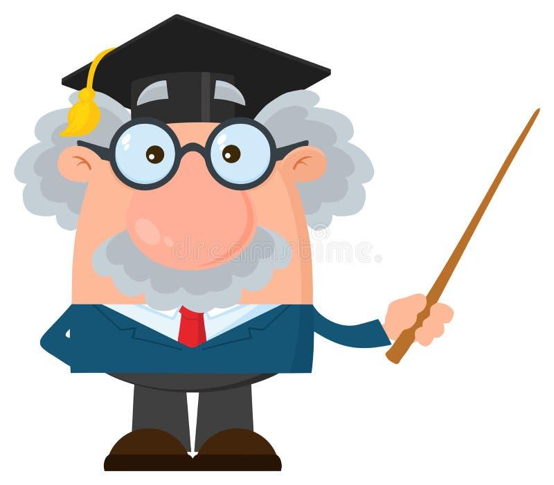 教授或科学家与拿着尖的毕业生盖帽的漫画人物 向量例证
