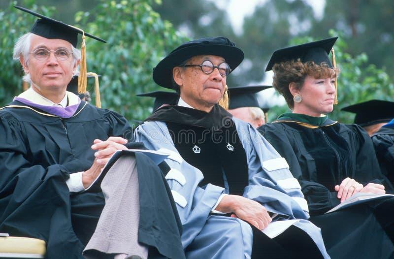 教授观察毕业典礼 库存照片