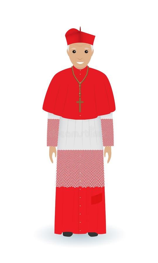 教皇或主要字符在白色背景隔绝的典型衣裳 法衣的天主教教士 库存例证