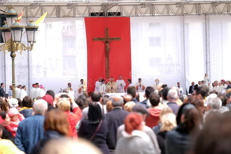 教皇方济各在马其顿广场庆祝弥撒,在斯科普里 免版税库存图片