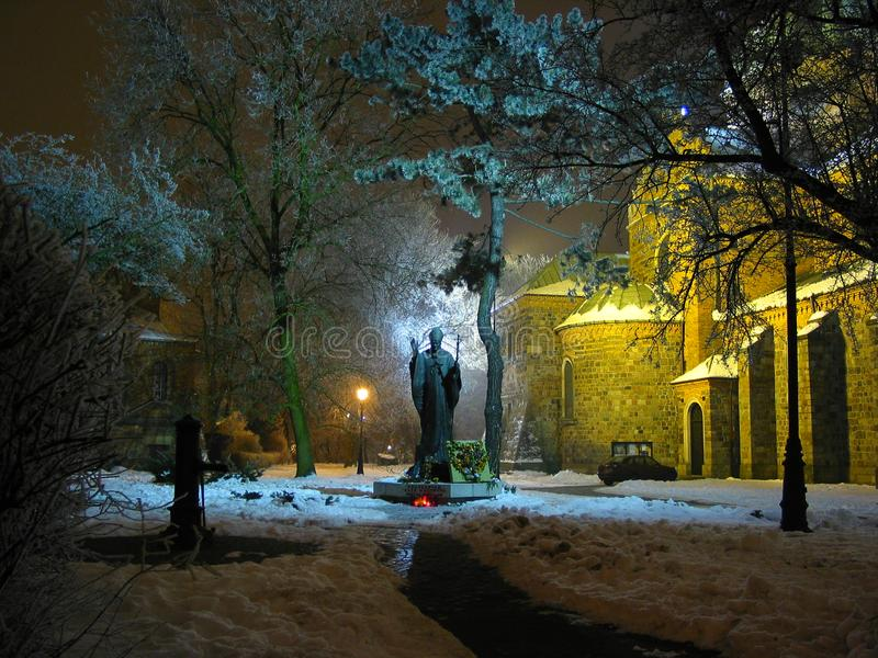 教皇约翰・保罗二世的纪念碑由哥特式大教堂的在普沃茨克波兰在月光的晚上 免版税库存图片