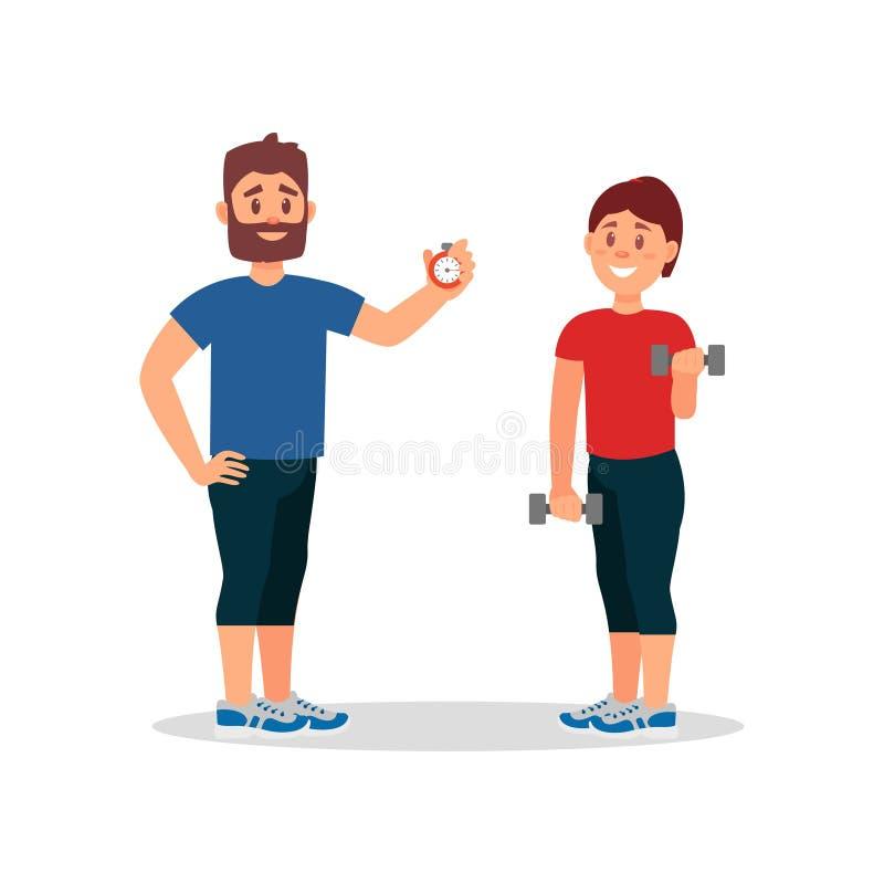 教练健身房的训练妇女 拿着秒表,女孩的教练员做与哑铃的锻炼 平的传染媒介设计 向量例证