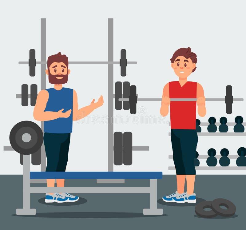 教练员举行与年轻人的训练 做与杠铃的人锻炼 在背景的健身房设备 平的传染媒介 皇族释放例证