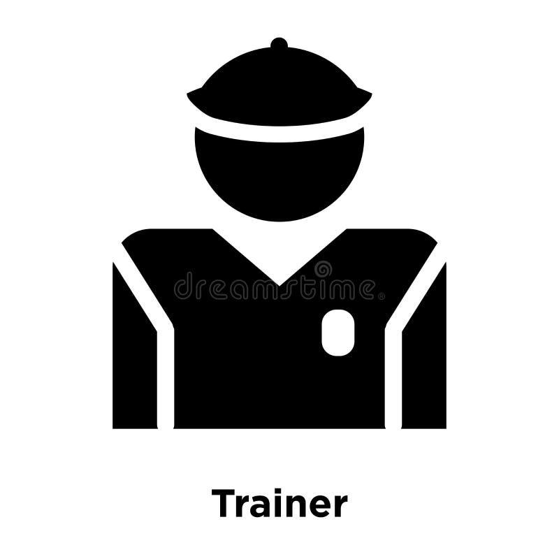 教练员在白色背景隔绝的象传染媒介,商标概念o 库存例证