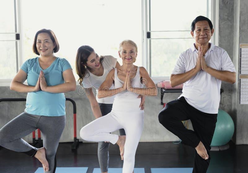 教练员年轻女性执行的瑜伽教前辈年长体育课 库存照片
