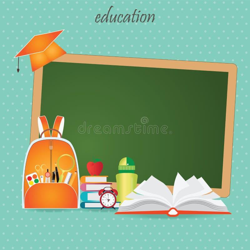 教育与书包的设计背景 库存例证
