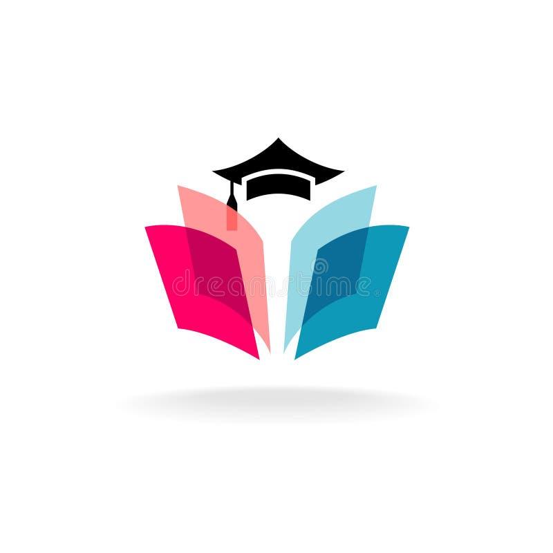 教育与毕业盖帽和开放书页的商标概念 向量例证