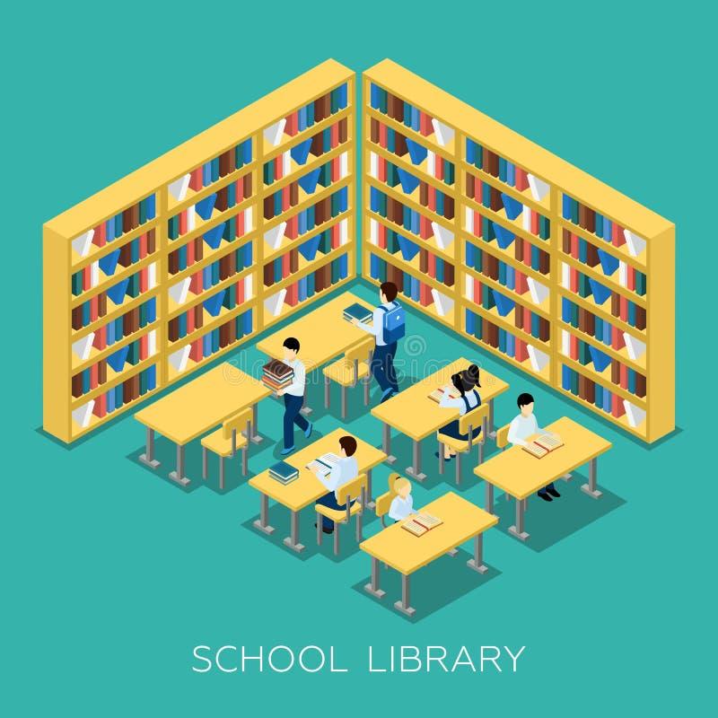 教育中学图书馆等量横幅 向量例证